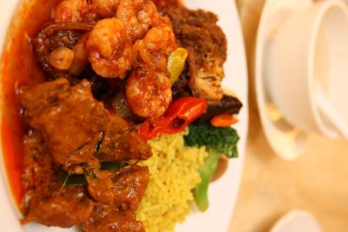 Chicken rendang, lamb curry, prawn