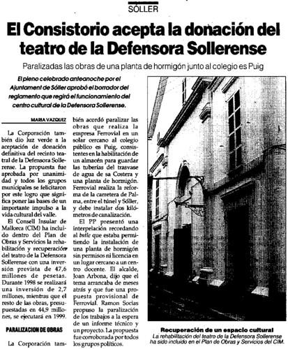 """Comentari """"Ultima Hora"""" cessió """"Defensora"""".-"""