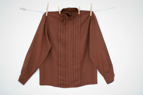 VINTAGE 80s brown secretary blouse S