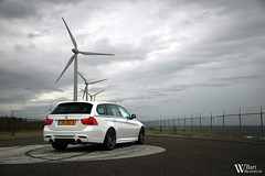 BMW 335i Performance (Bart Willemstein) Tags: auto sea sky test white cars windmill car clouds rotterdam sand nikon shoot d70 cloudy background d70s performance automotive shore bmw autos nikkor bartw 335i autogespot bartwillemsteinnl