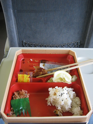 The thrilling remains of a lunch eaten on an exciting train ride to Fukuoka.