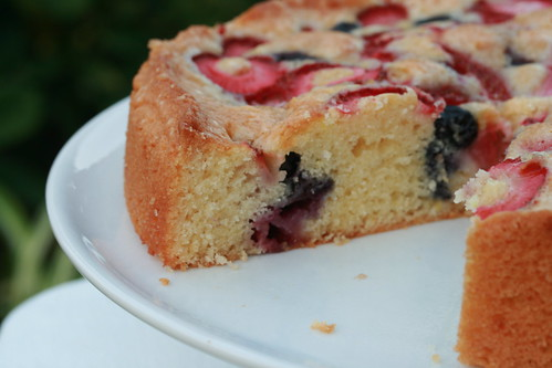 Easiest Cake Ever with Strawberries & Blueberries