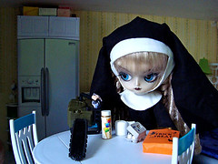 Dalicious #6: Preparation is everything (RequiemArt.com) Tags: halloween doll ooak treats chainsaw nun prank trick requiem custom pranks dollhouse customs repaint principessa princessa dalicious dgrequiem requiemart