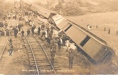 Photograph of postcard of wreck of the Delaware and Hudson train (Smithsonian Institution) Tags: train accident rails derailed 100yearsold smithsonianinstitution nationalpostalmuseum npcs clerestorycoachusstock