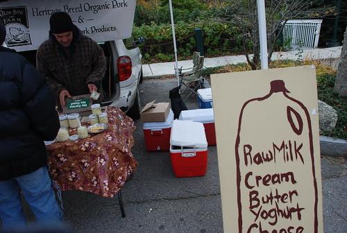 Raw Milk sign at Camden Farmers' Market