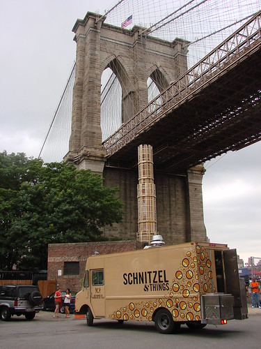 Schnitzel Truck Under the Brooklyn Bridge