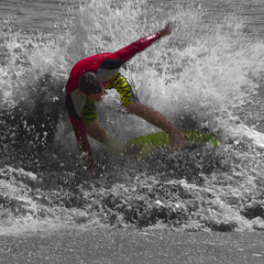 Splash of Color (kentsmith9) Tags: ocean portrait people white motion black color beach water canon square eos is moving surf wave move usm ef28135mm logan splash selective selectivecolor f3556 ef28135mmf3556isusm 40d canon40d notmaxgroup