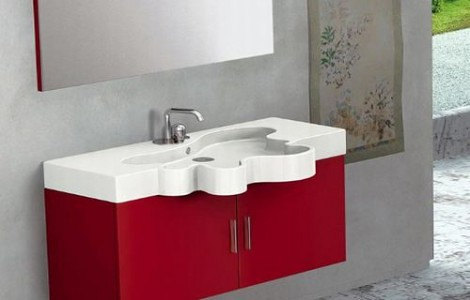 Red Vanity for Modern Bathroom Design