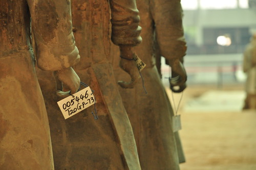 Serial number tags on terracotta figures