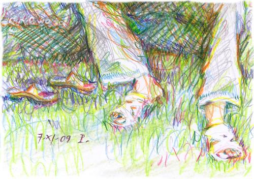 con i piedi nell'erba