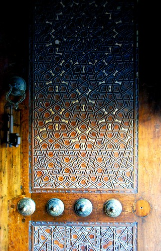 mother-of-pearl inlaid door at the blue mosque, istanbul