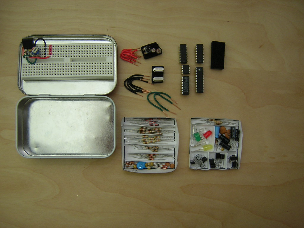 Altoids Tin Electronics Lab (everything out)