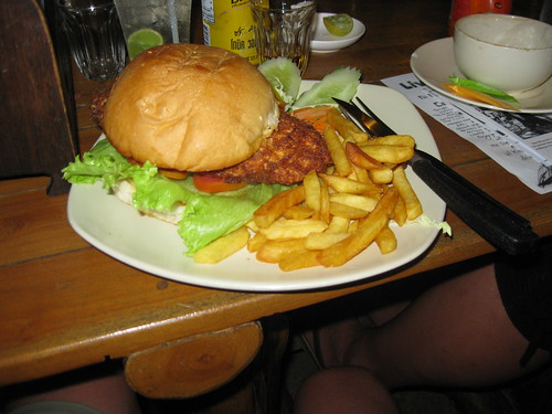 Swiss orders the chicken cordon bleu burger