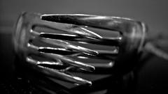 Praying Forks (Harri_1970) Tags: wallpaper blackandwhite food macro reflection kitchen metal pray fork eat tool