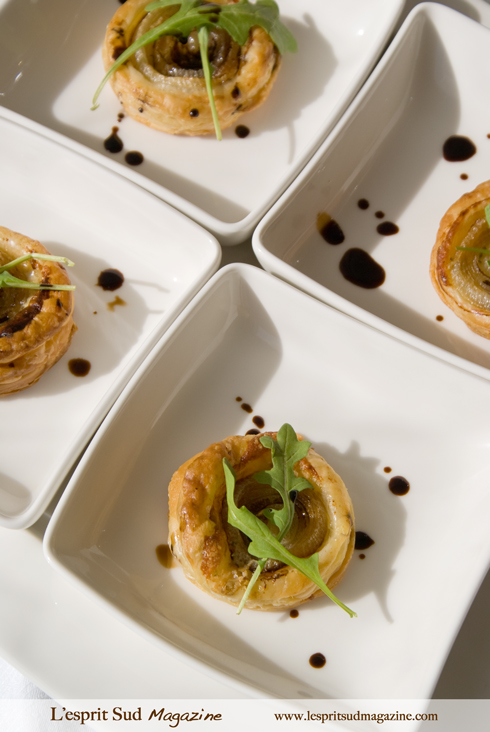 Caramelized onion and blue cheese tartlets