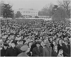 Photograph of a large crowd assembled on the South Lawn of the White House for the lighting of the National Community Christmas Tree, 12/24/1945