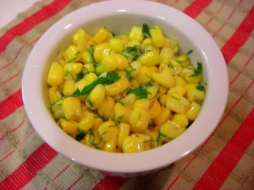 corn with fresh herbs