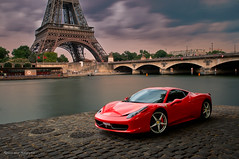 Ferrari F458 Italia ... (Romain sauze...come back ..) Tags: paris france photoshop photography photo nikon long exposure italia tour picture ferrari bamboo software nik wacom romain hdr couleur italie lightroom plugg filtre photographe d300 sauze lr3 graphique effeil tablette cs5 bw110 f458 oloneo