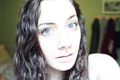 (skelseys) Tags: blue portrait girl self canon hair nose rebel eyes long eyelashes piercing medusa xsi nostrils philtrum