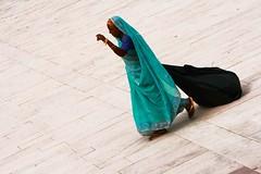 Routine2 (Kristiannemaroy) Tags: blue woman india contrast bag sari conseptualphoto