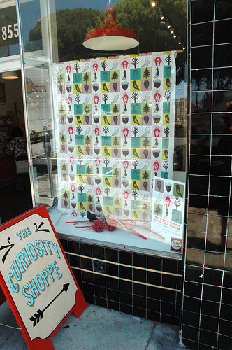 my fabric in the window of the curiosity shoppe!