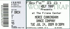 Merce Cunningham Dance Company ticketstub
