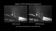Comparison_Aldrin_First_Step (NASA Goddard Photo and Video) Tags: moon television washington video anniversary neil nasa landing data conference press comparison apollo armstrong tapes lunar enhanced goddard newseum