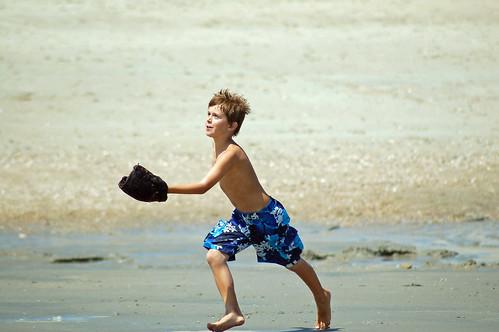 baseball on beach