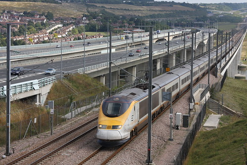 Eurostar crossing the Medway Bridge