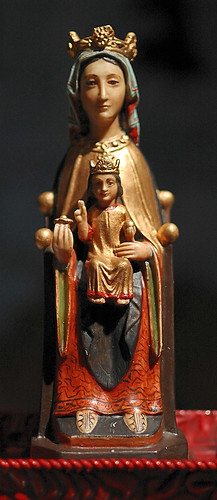"Stone-polychrome statue ""Nuestra Senora"", made in Spain, from the collection of the Marianum, photographed at the Cathedral of Saint Peter, in Belleville, Illinois, USA"