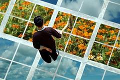 sweeping (KC Toh) Tags: cloud flower floor gimp tiles layers sweep 天空 sweeping 花儿 扫地 白云 扫把 影像处理