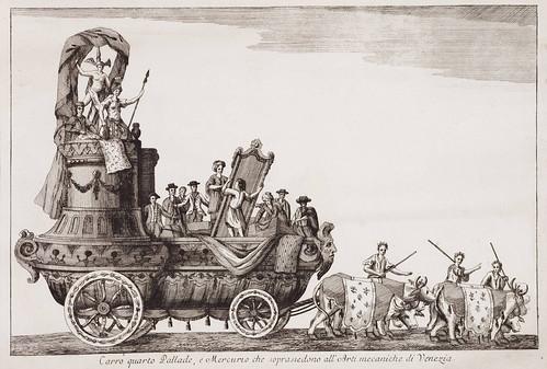 003- Cuarta carroza representado a Palas y Mercurio como dioses del Arte Mecanico en Venecia- Currus triumphales ad adventum clarissimorum Moschoviae 1782