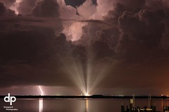Lightning scrubs Discovery STS 128 launch (Damgaard, (TheObsessivePhotographer.com)) Tags: reflection water clouds dock purple nasa spacetravel thunderstorm rocket lightning kennedyspacecenter discovery spaceshuttle launchpad spotlights indianriver internationalspacestation cloudlightning nightlaunch thechallengefactory