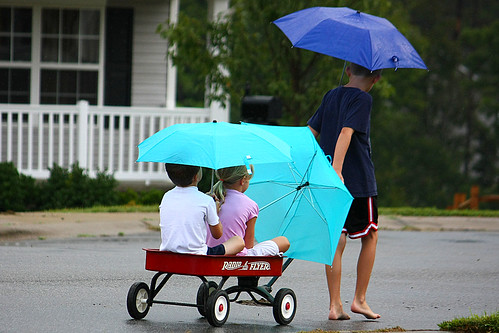 Little Red Wagon & Umbrellas