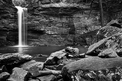 Water Falling on Cedar Creek (title ripped from Chris R) (clay.wells) Tags: park winter white motion black blur nature water monochrome rock creek canon landscape photography eos one 1 march waterfall interesting stream long exposure jean natural state outdoor clayton wells hike falls explore stop filter cedar nd motor arkansas usm polarizer cascade 2009 ef 1740mm 1740 circular petit density neutral ultrasonic f4l img3355 morrilton 40d challengeyouwinner thechallengefactory thepinnaclehof tphofweek9