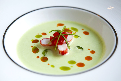 Chilled Cucumber Soup with Alaskan King Crab