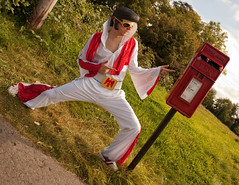 Return To Sender (Carly Wong) Tags: uk red portrait face hair bristol glasses funny dress post mask box elvis postcode rubber plastic beginning return fancy postbox royalmail presley sender address stapleton returntosender elvisaaronpresley bs16 bs16710