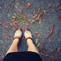 Wednesday morning (liz.rusby) Tags: autumn fall me leaves pavement newshoes lovethem