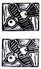 Book birds logo stamp (sarah e. kershaw) Tags: blackandwhite bird birds logo book carved handmade eraser stamp rubberstamp handcarved bookbirds