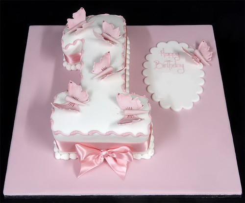 002955 Figure One with Sugar Butterflies Birthday Cake
