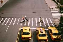 3's (ho_hokus) Tags: nyc manhattan taxis pedestrians 2009 42ndstreet pedestriancrossing pointnshoot fujisuperiaxtra400 tudorcity nikonl35af 35mmcamera ny2009