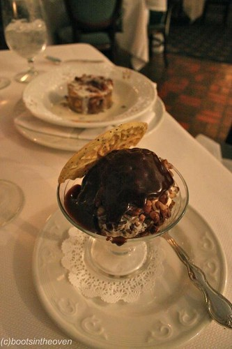 Texas Pecan Ball: Large scoop of vanilla ice cream rolled in crushed pecans and topped with our homemade fudge sauce