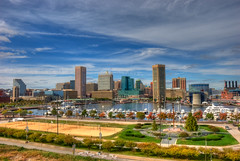 Baltimore and The Inner Harbor from Federal Hill (Sabreur76) Tags: skyline buildings geotagged harbor maryland baltimore hdr federalhill innerharbor bmore vicen photomatix nikond80 feli tamron18270 sabreur76 vicenfeli geo:lat=39280126 geo:lon=76608964