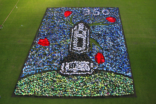 Nearly 5,000 youth form the image of a windmill and 350 in Uden, Netherlands.