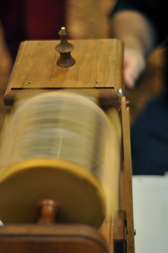Learning how to reel silk.