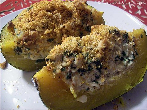 Spinach & Pasta Stuffed Squash