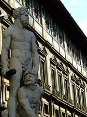 Brutality (Sugar Dolly) Tags: windows italy sculpture colour muscles hair nude beard penis florence pain europe fuji curls finepix uffizi brute brutal fujifinepix