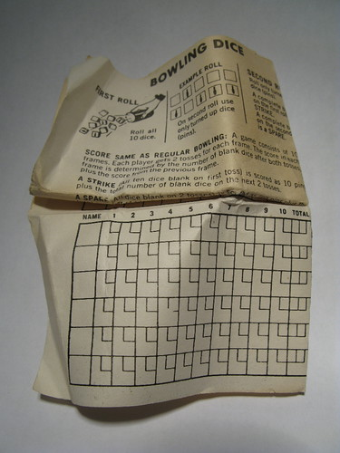 Bowling dice paperwork