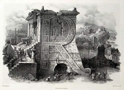 017-Letra R-Alfabeto pittorico- Antonio Basoli 1839-© Accademia di Belle Arti di Bologna