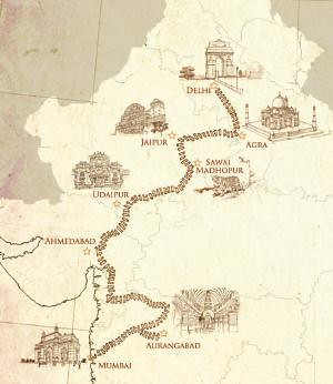 Indian Maharaja - map of the Delhi Mumbai route